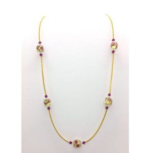 Glass & Crystal Roses Necklace